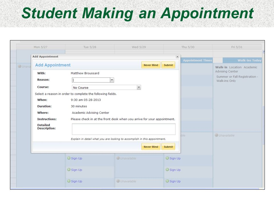 Student Making an Appointment