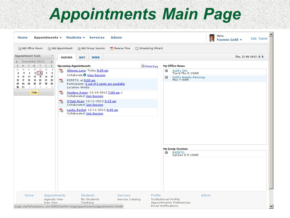 Appointments Main Page