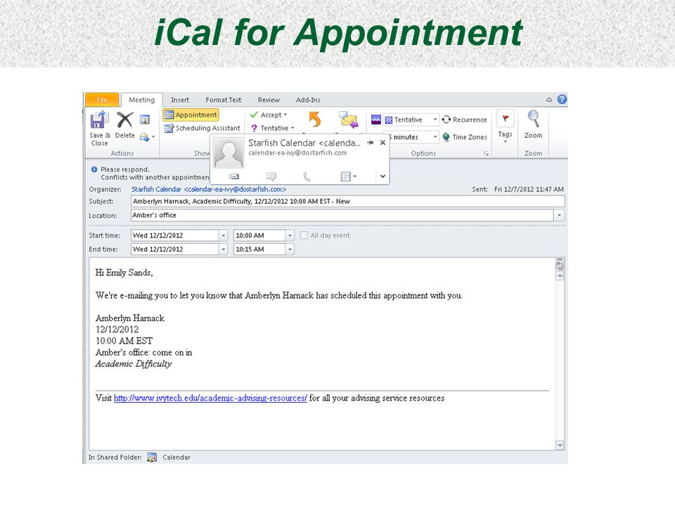 iCal for Appointment