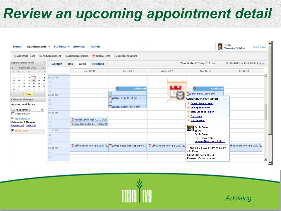 Review an upcoming appointment detail