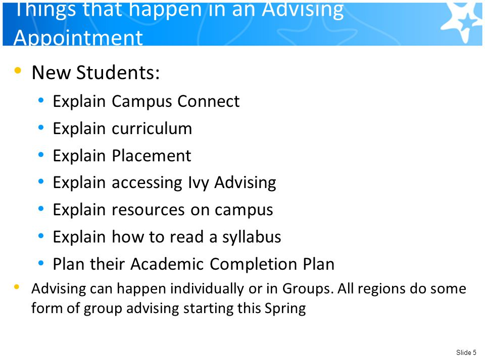 Things that happen in an Advising Appointment