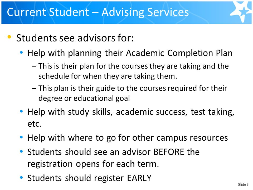 Current Student – Advising Services