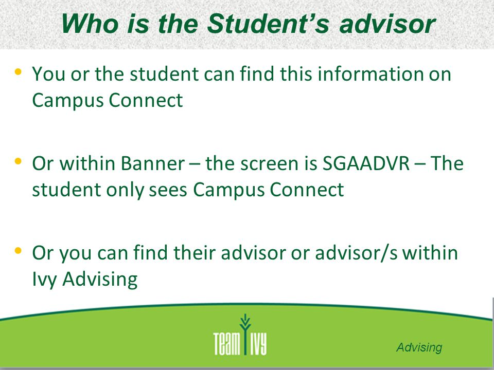 Who is the Student's advisor
