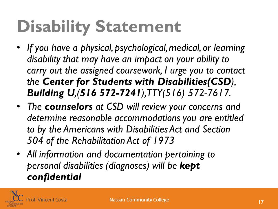 Disability Statement