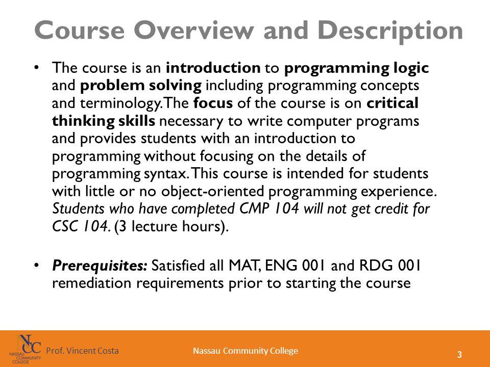 Course Overview and Description