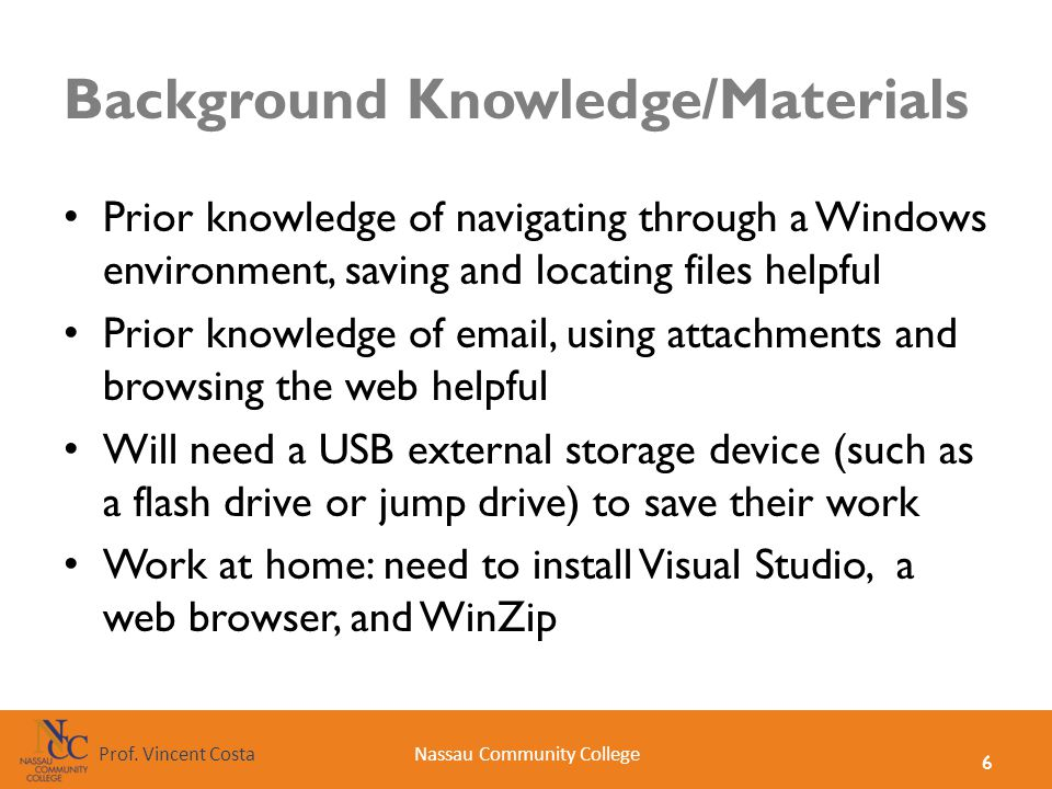 Background Knowledge/Materials