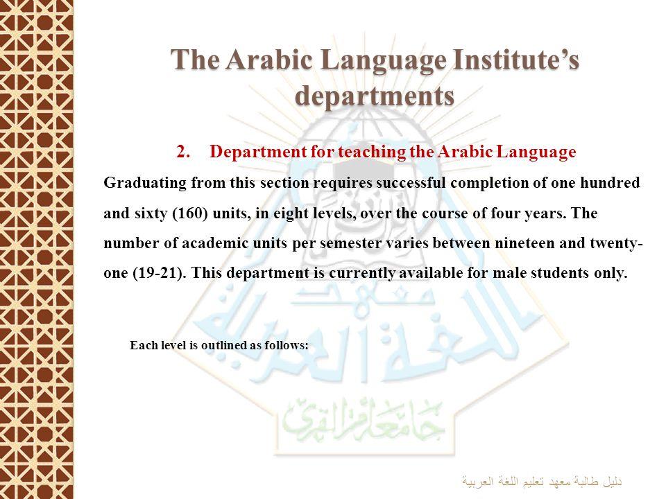 The Arabic Language Institute's departments