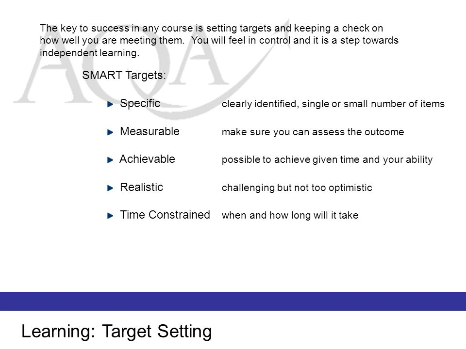 Learning: Target Setting