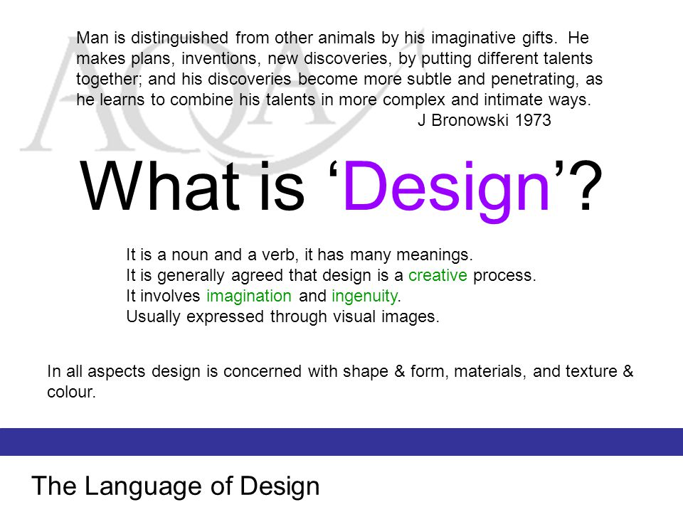 What is 'Design' The Language of Design