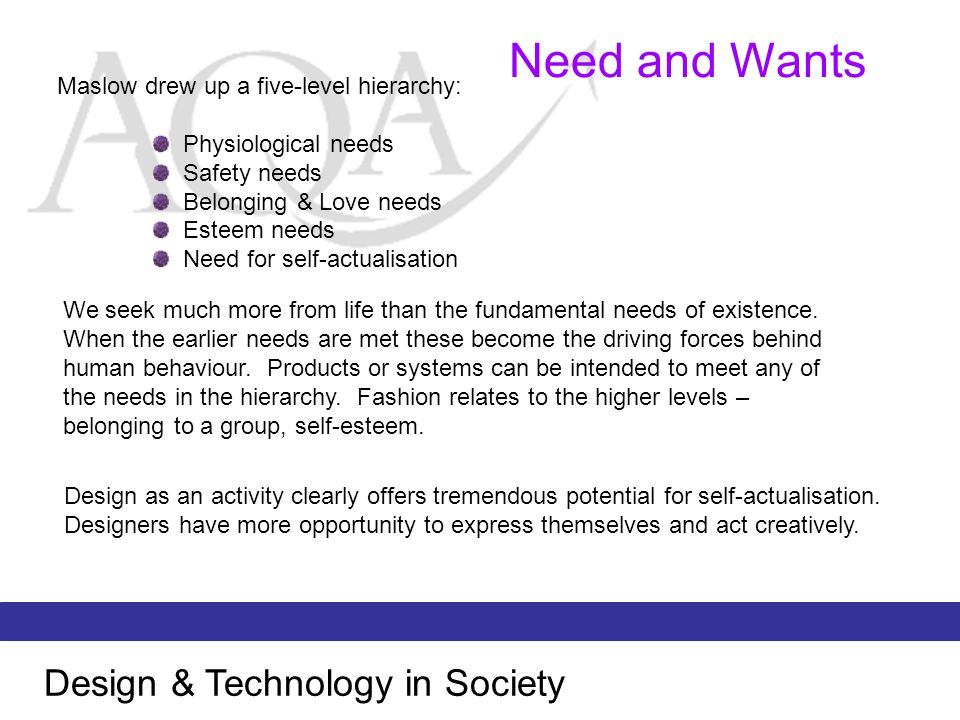 Need and Wants Design & Technology in Society