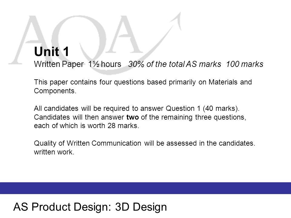 Unit 1 AS Product Design: 3D Design