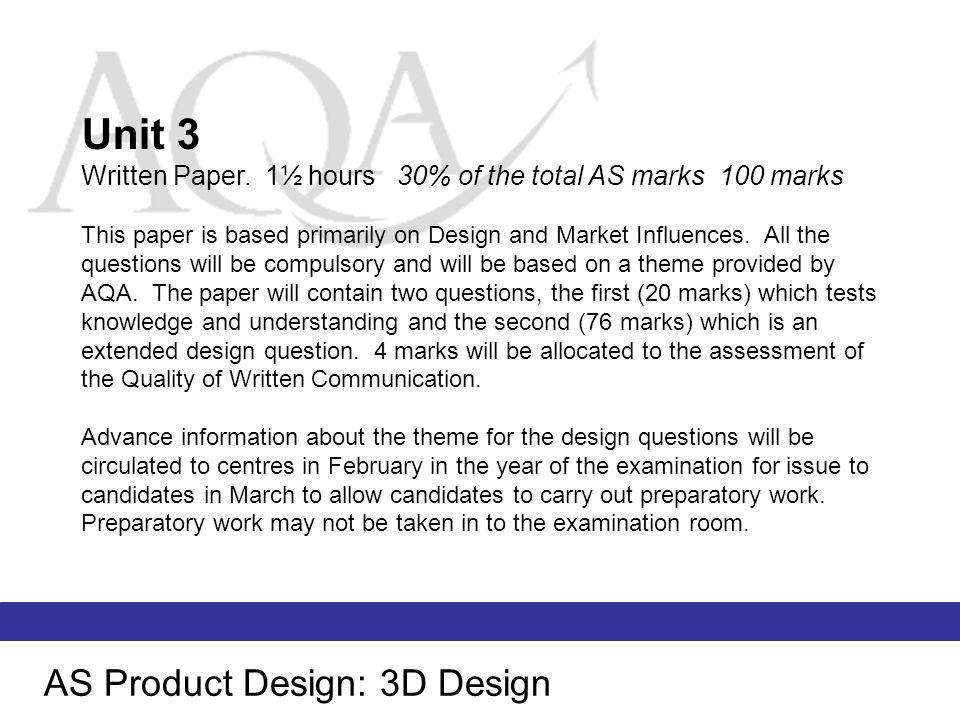 Unit 3 AS Product Design: 3D Design