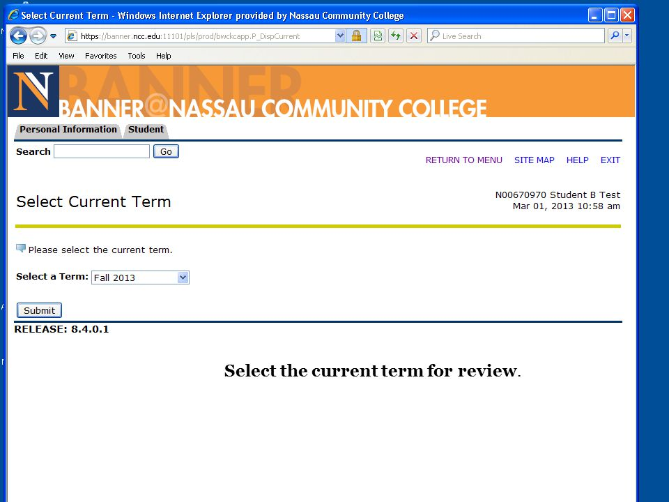 Select the current term for review.