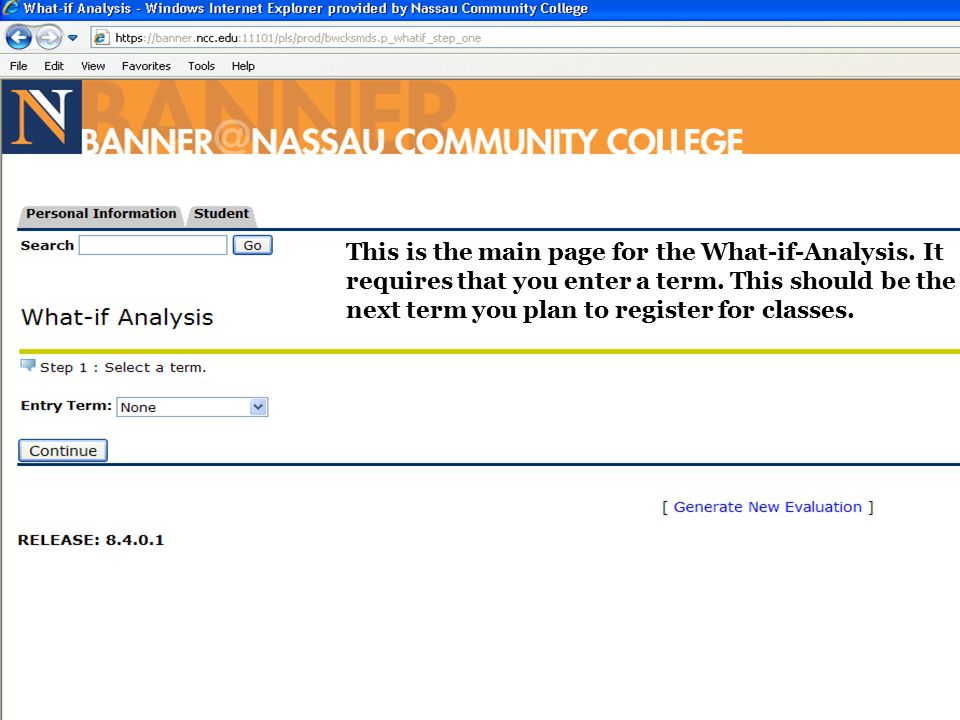 This is the main page for the What-if-Analysis