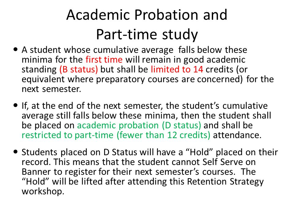 Academic Probation and Part-time study