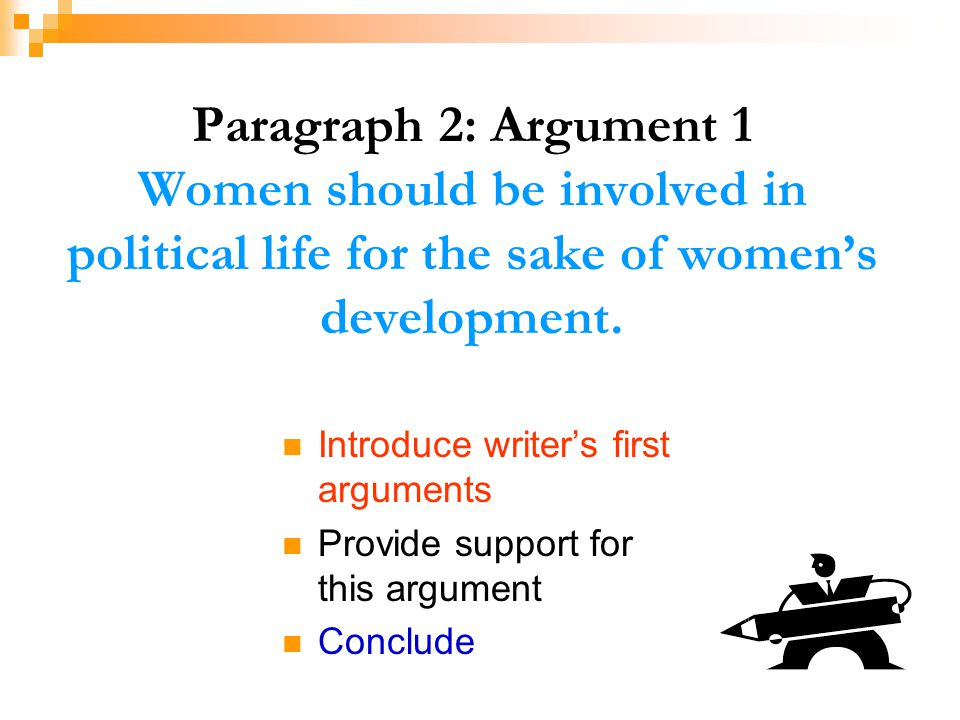 Paragraph 2: Argument 1 Women should be involved in political life for the sake of women's development.