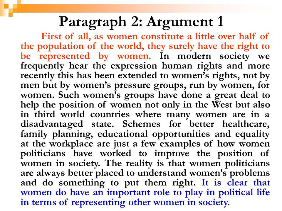 Paragraph 2: Argument 1
