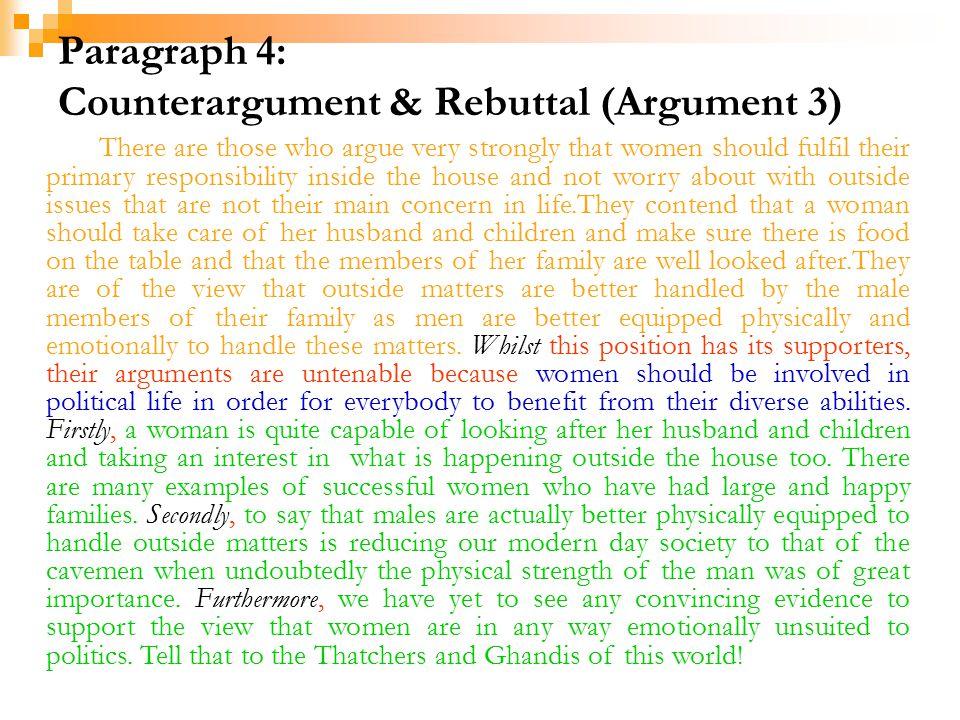 Paragraph 4: Counterargument & Rebuttal (Argument 3)