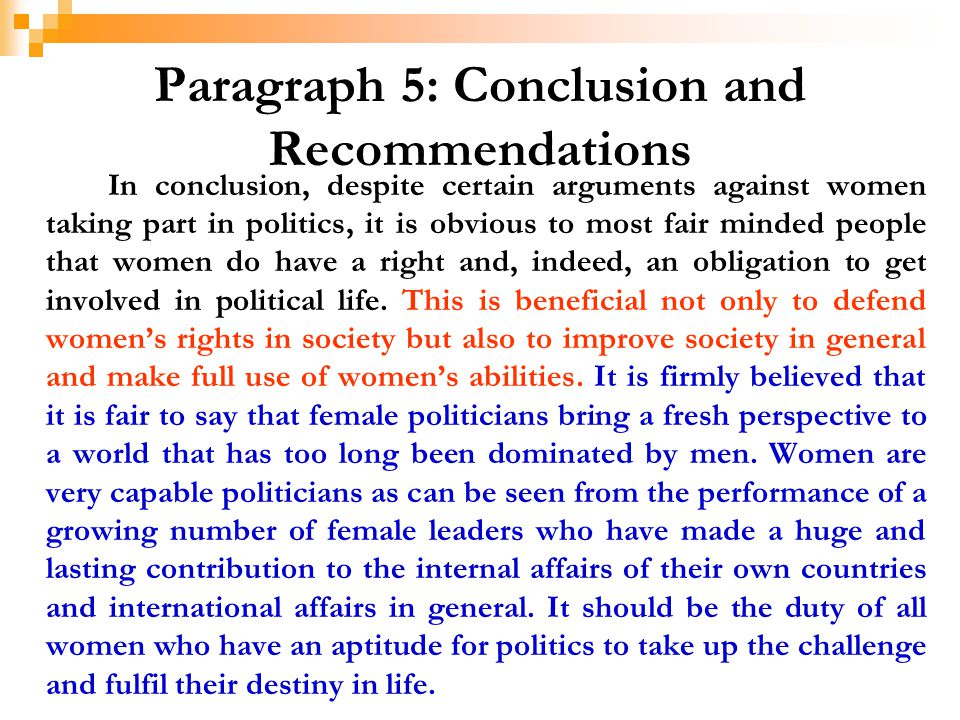 Paragraph 5: Conclusion and Recommendations