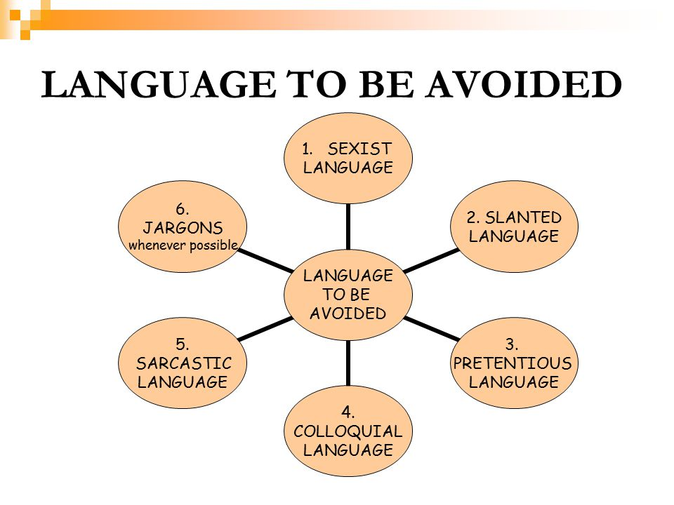 LANGUAGE TO BE AVOIDED