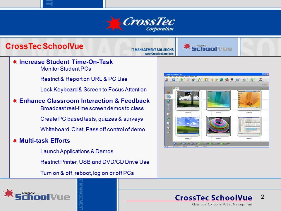 CrossTec SchoolVue Increase Student Time-On-Task Monitor Student PCs