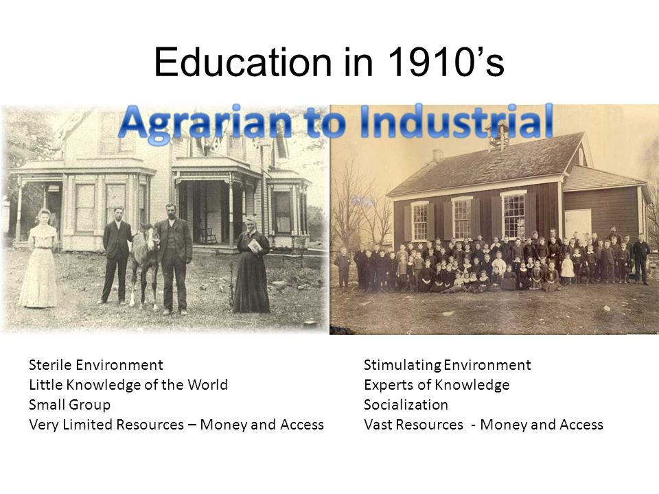 Education in 1910's Sterile Environment Little Knowledge of the World
