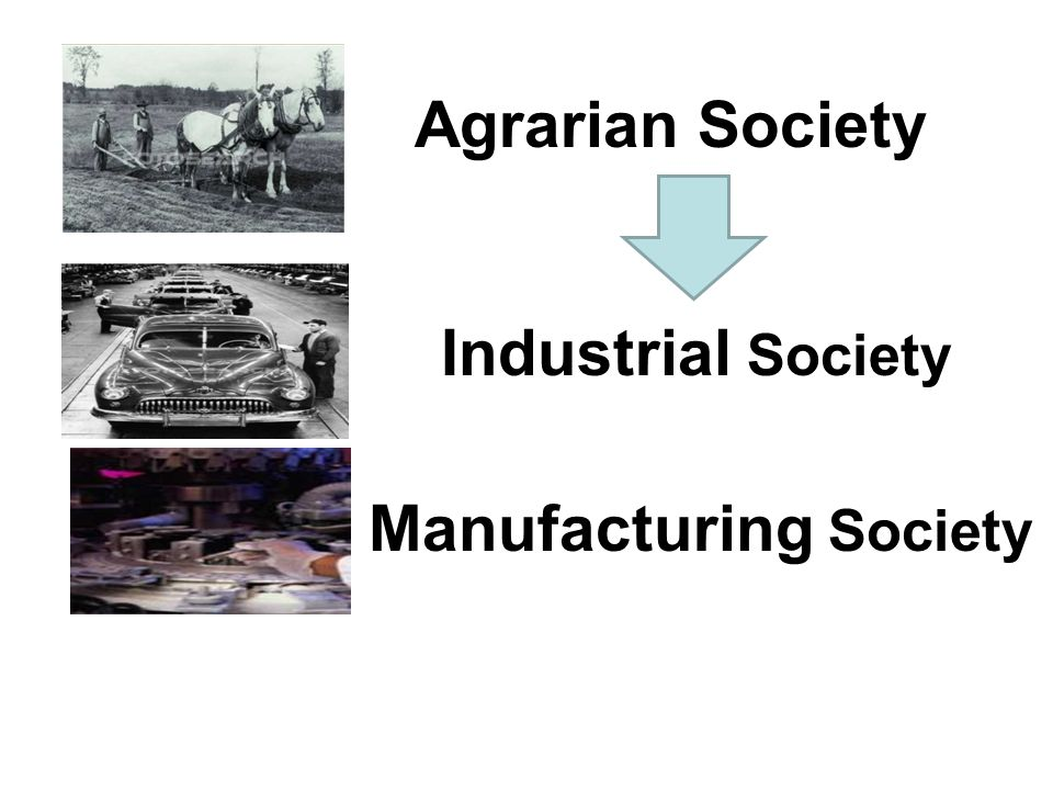 Agrarian Society Industrial Society Manufacturing Society