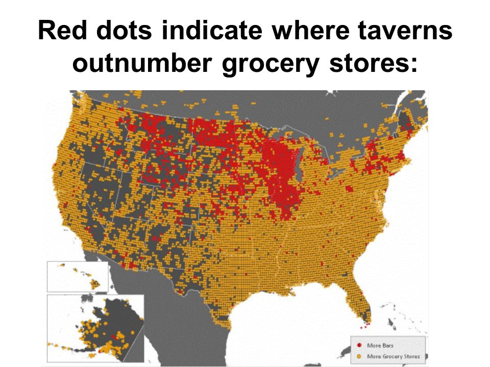 Red dots indicate where taverns outnumber grocery stores: