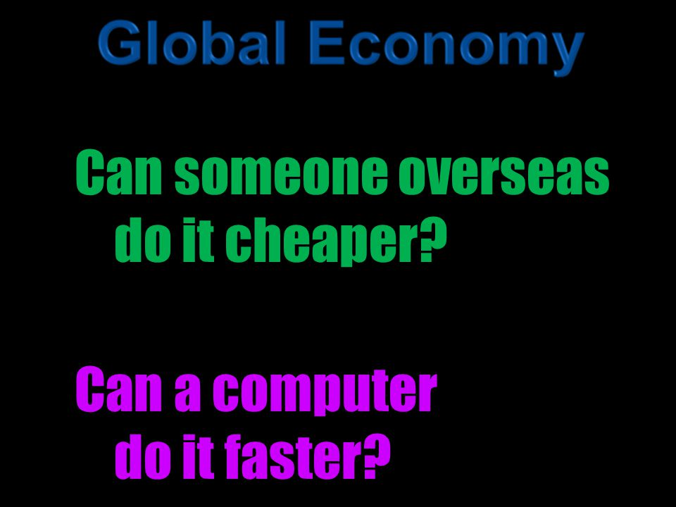 Can someone overseas do it cheaper Can a computer do it faster