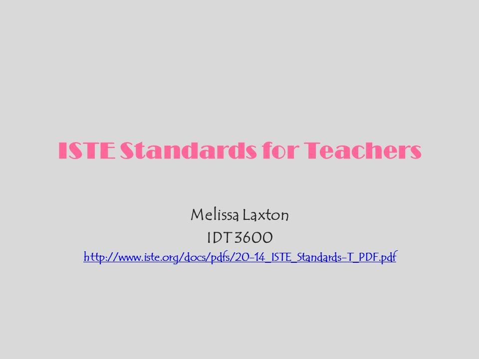 ISTE Standards for Teachers