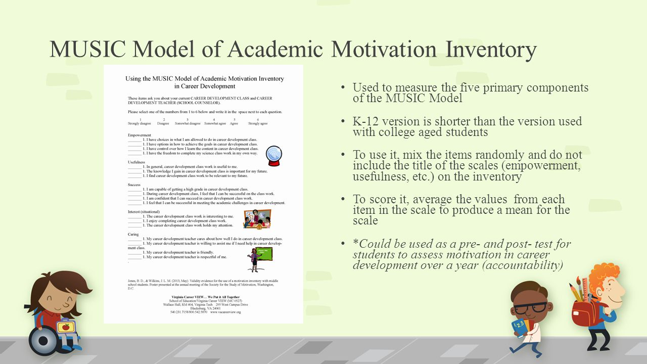 MUSIC Model of Academic Motivation Inventory