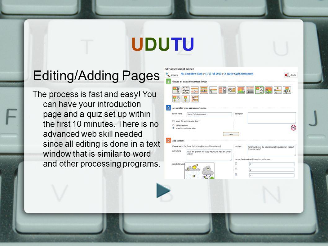 UDUTU Editing/Adding Pages