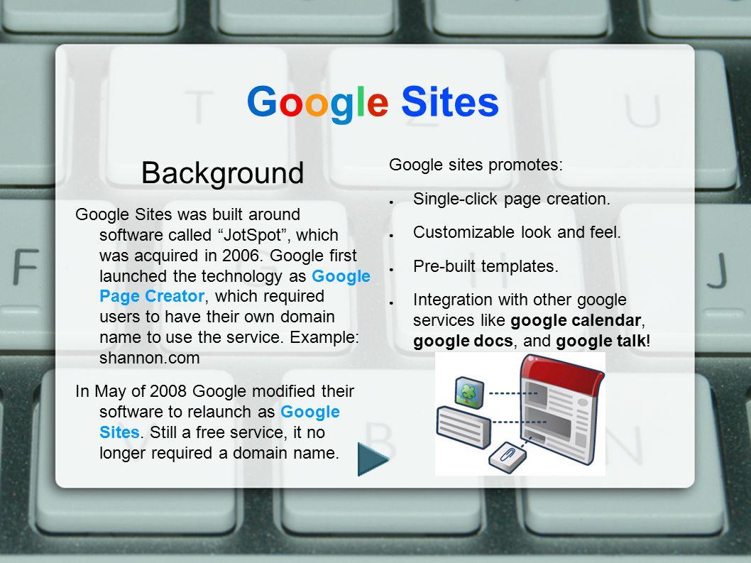 Google Sites Background Google sites promotes: