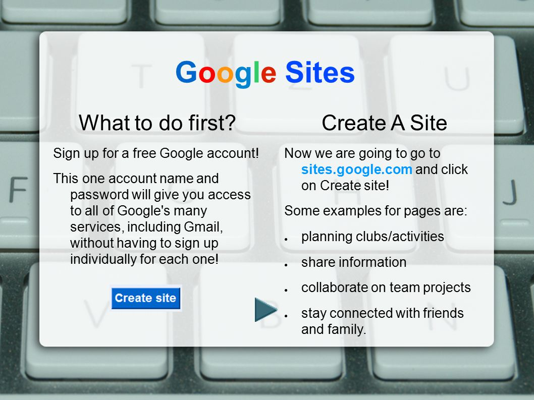 Google Sites What to do first Create A Site