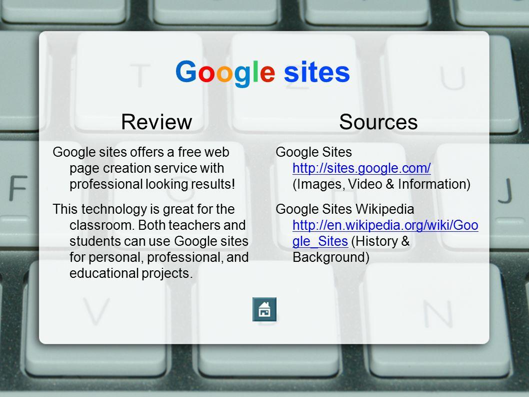 Google sites Review Sources