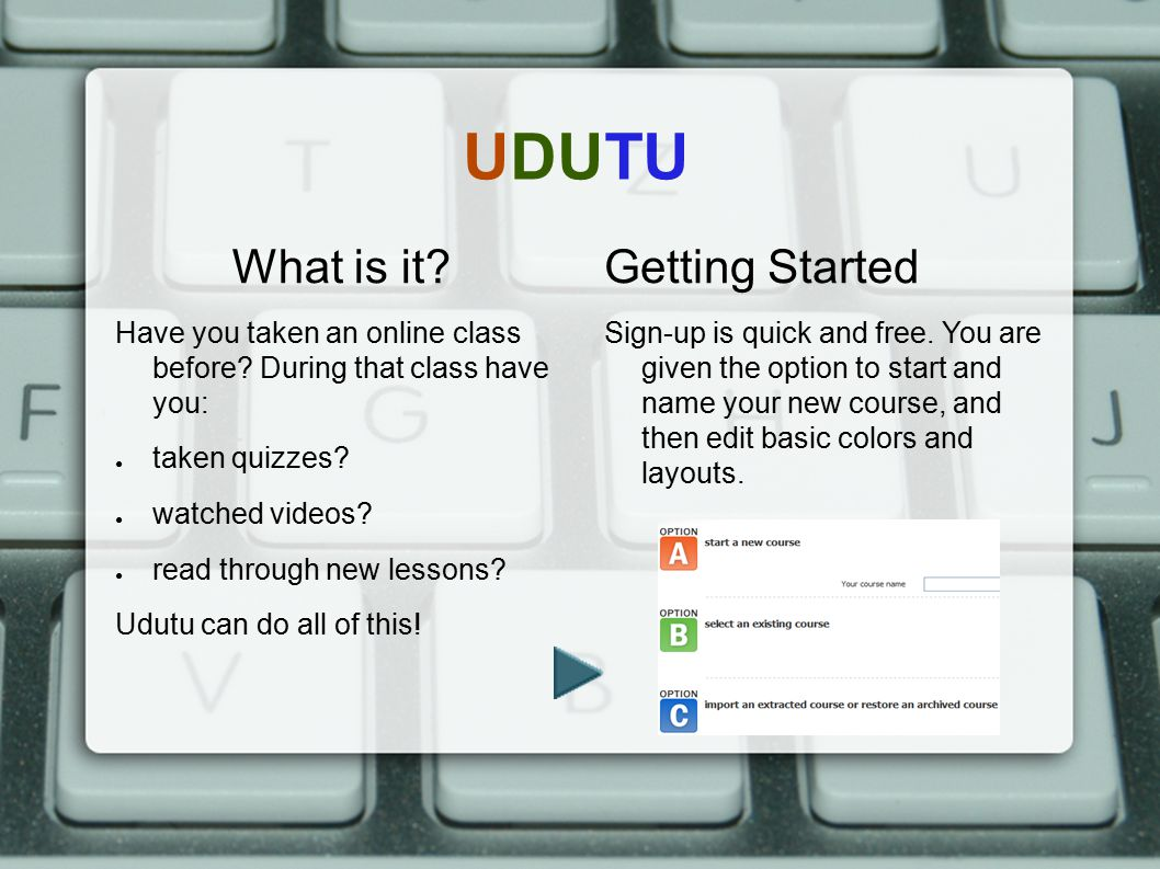 UDUTU What is it Getting Started
