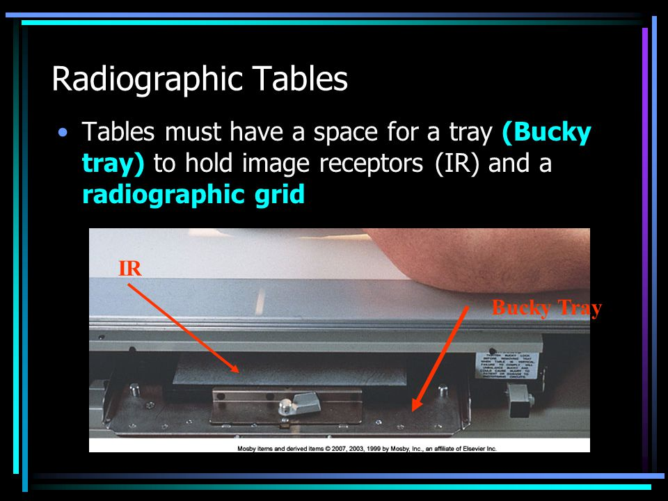 Radiographic Tables Tables must have a space for a tray (Bucky tray) to hold image receptors (IR) and a radiographic grid.