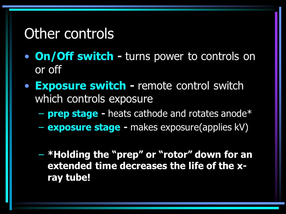 Other controls On/Off switch - turns power to controls on or off