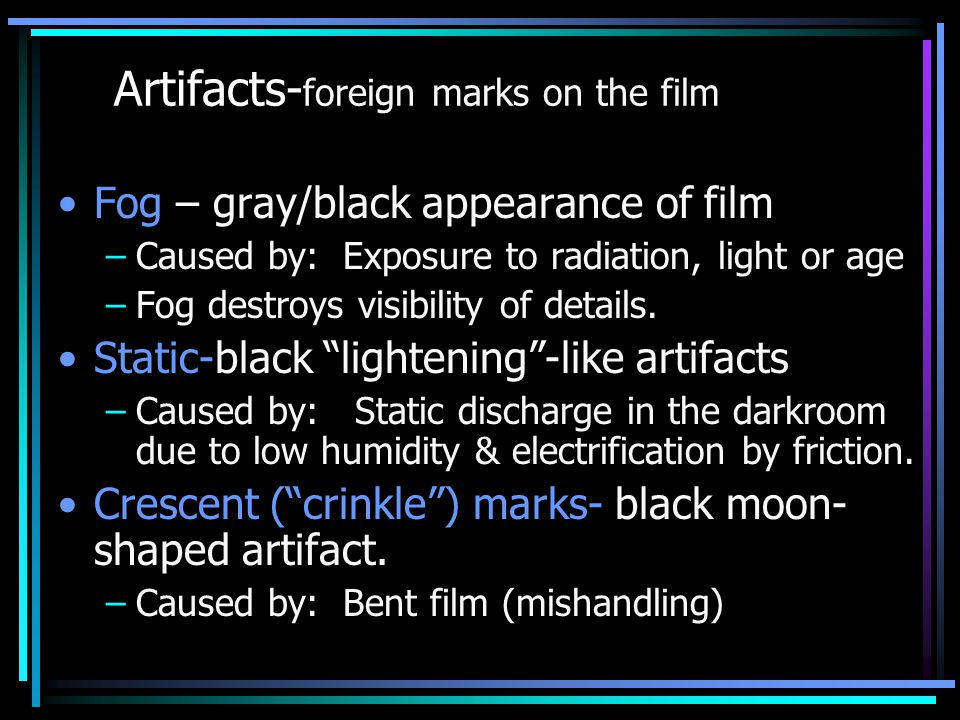 Artifacts-foreign marks on the film