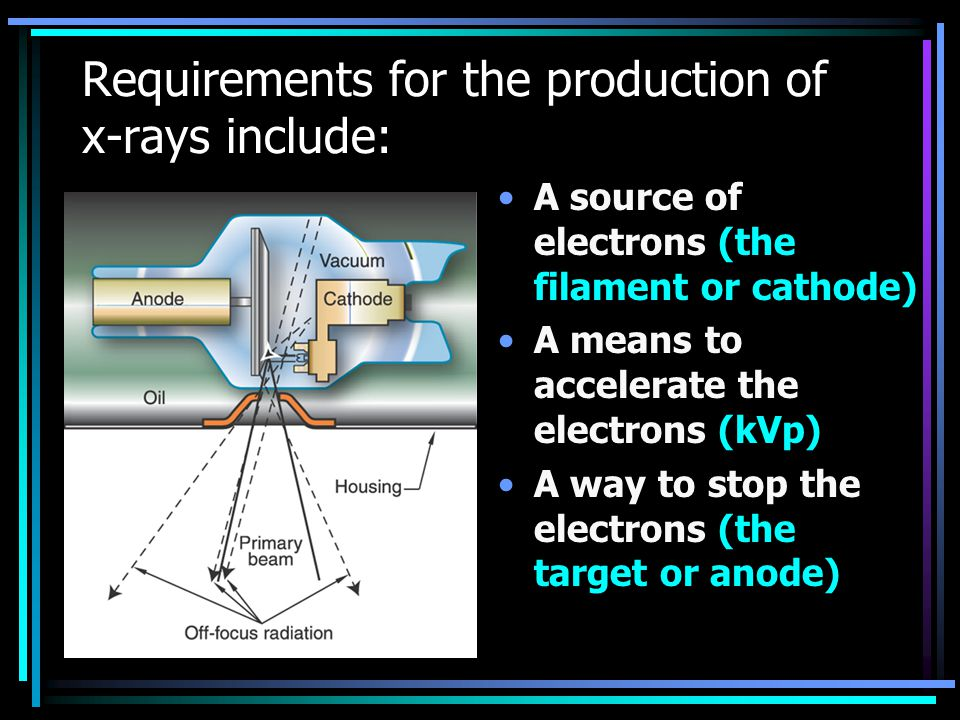 Requirements for the production of x-rays include: