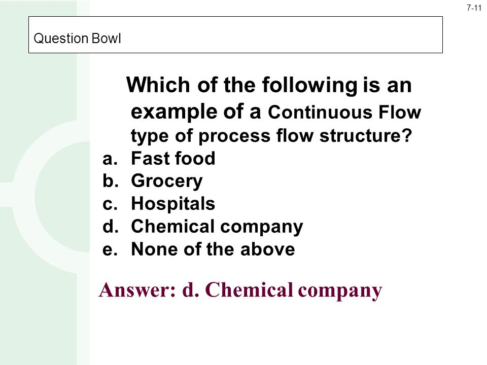 Answer: d. Chemical company