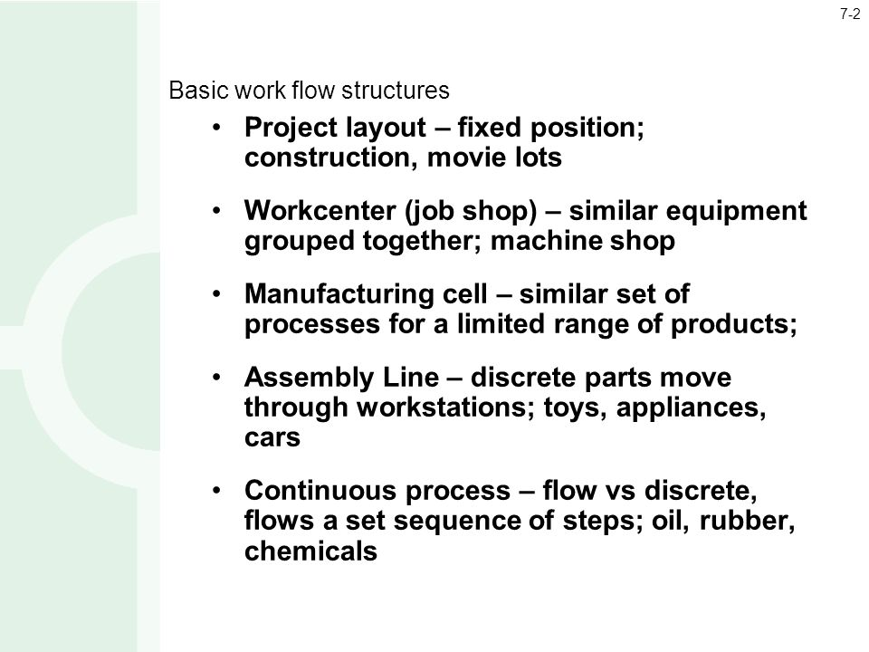 Basic work flow structures