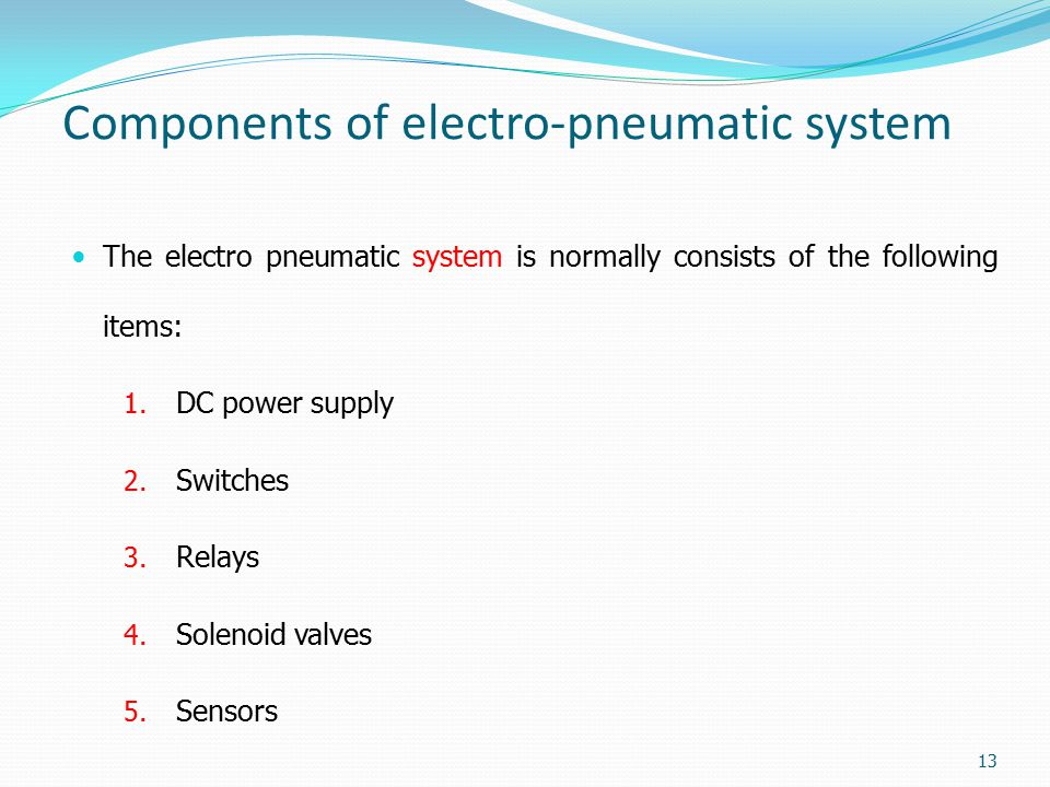Components of electro-pneumatic system
