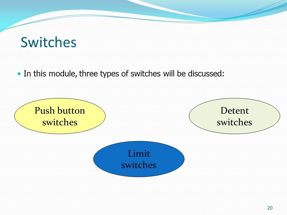Switches Push button switches Detent switches Limit switches