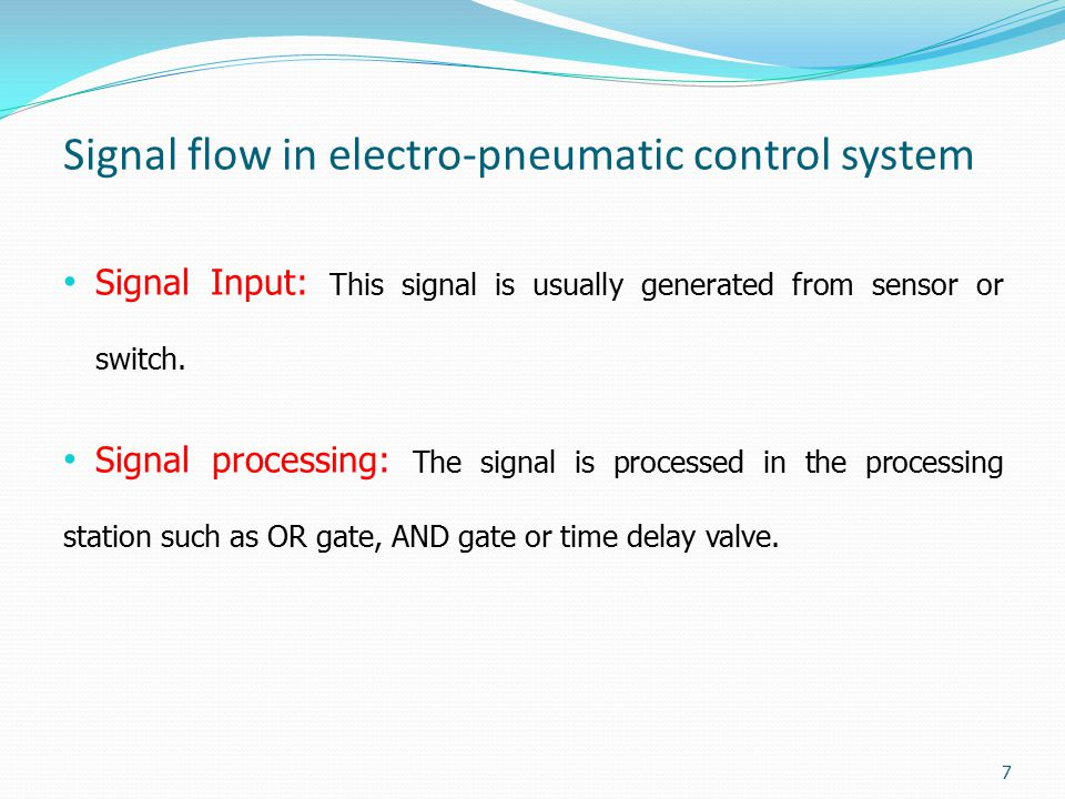 Signal flow in electro-pneumatic control system