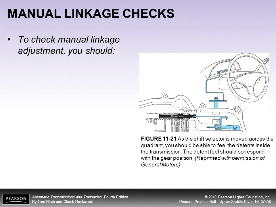 MANUAL LINKAGE CHECKS To check manual linkage adjustment, you should: