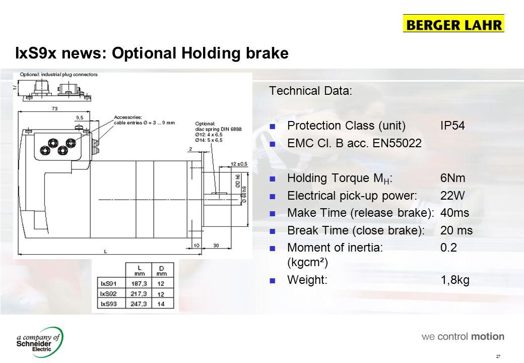 IxS9x news: Optional Holding brake