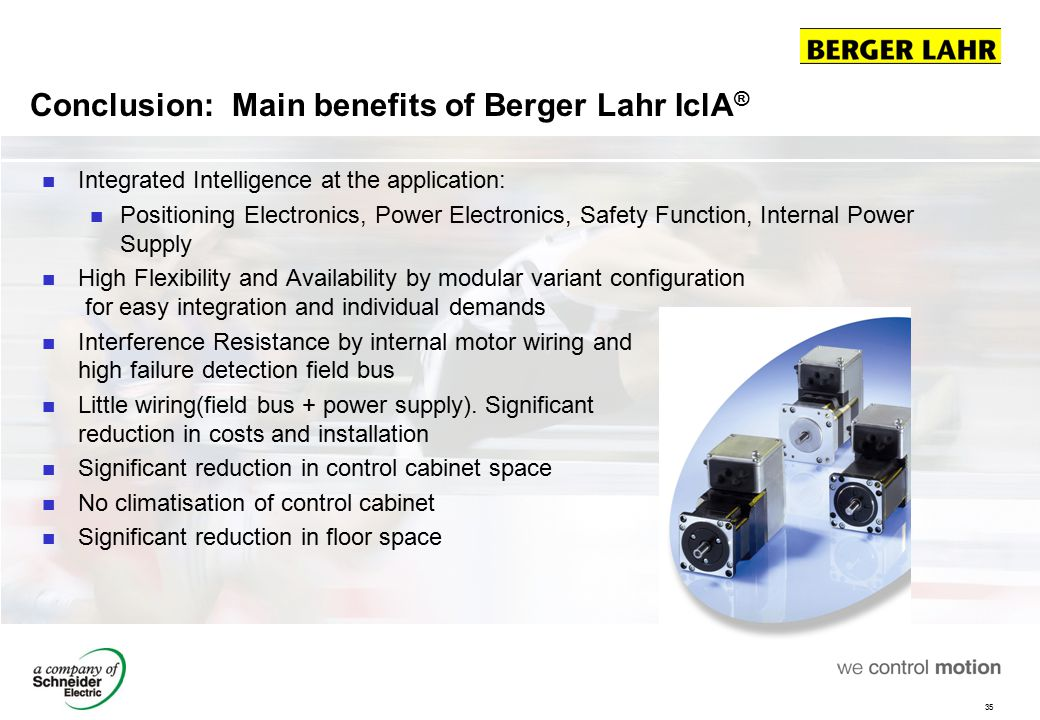 Conclusion: Main benefits of Berger Lahr IclA®