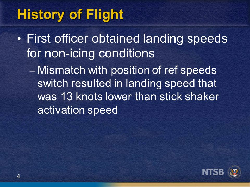 History of Flight First officer obtained landing speeds for non-icing conditions.
