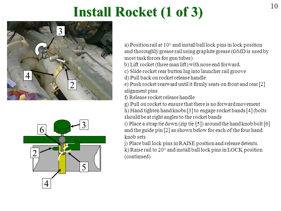 Install Rocket (1 of 3) 10. 3. a) Position rail at 10° and install ball lock pins in lock position.